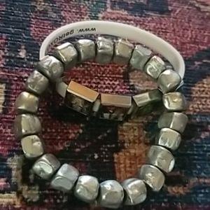2 bracelets: Avengers & silver rock